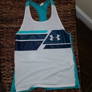 Under armour white aqua tank top size large